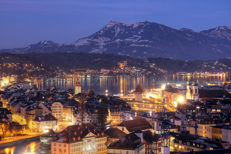 Lucerne Aerial At Night, Switzerland Royalty Free Stock Photo