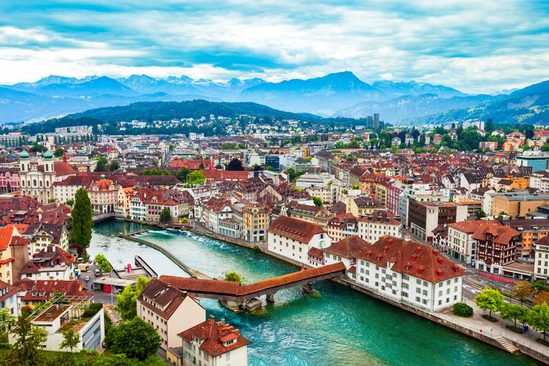 Lucerne city aerial panoramic view, Switzerland. Lucerne city aerial panoramic view. Lucerne or Luzern is a city in central Switzerland royalty free stock photography