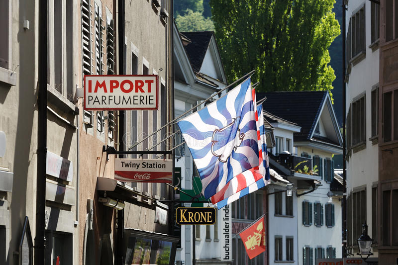 Lucerne, flags, banners and signs stock photo