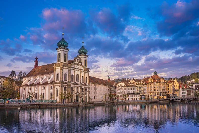 Lucerne jesuitkyrka, Schweiz royaltyfria bilder