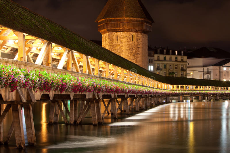 Lucerne Kapell Bridge At Night Time Royalty Free Stock Images