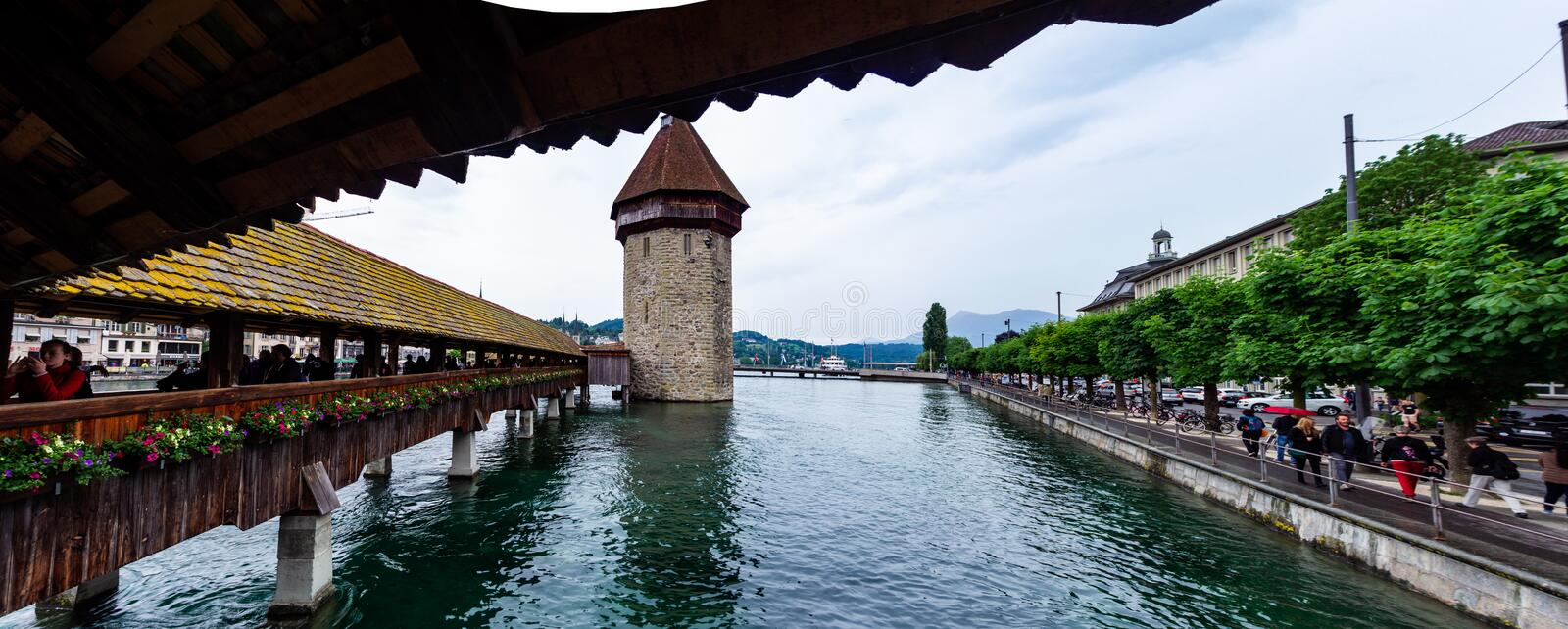 Lucerne Kapellbrucke bridge  scence from the old wooden bridge cloudy day. 2019 royalty free stock photo