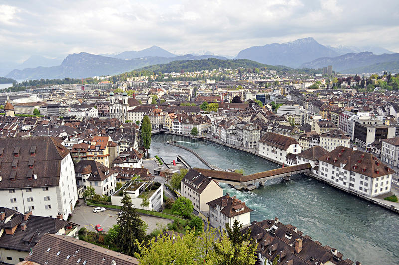 lucerne panorama- switzerland royaltyfria bilder