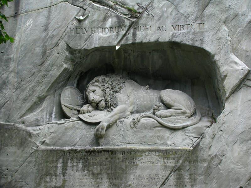 Lucerne's Lion Monument, Switzerland stock photos