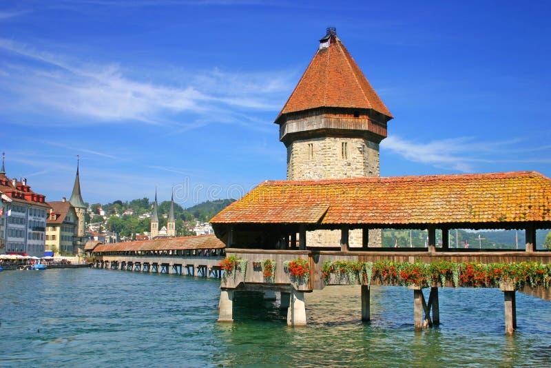Lucerne Switzerland. View of the chapel bridge in Lucerne Switzerland stock photo