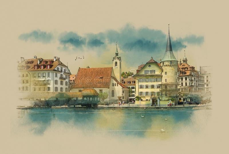 Lucerne, Switzerland. View of town. Lucerne. Switzerland. Watercolor sketch stock photography