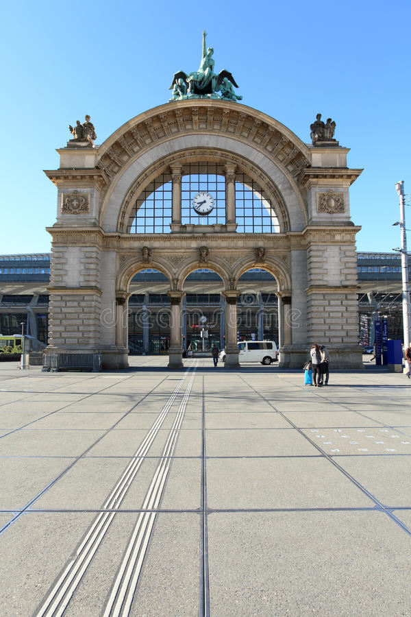 Lucerne Train Station in Switzerland stock photography