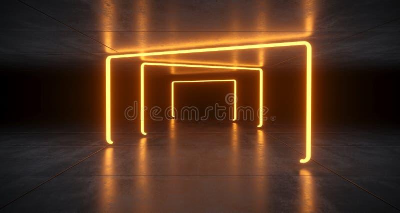 Luces anaranjadas futuristas del tubo de neón de Sci Fi que brillan intensamente en la Florida concreta ilustración del vector