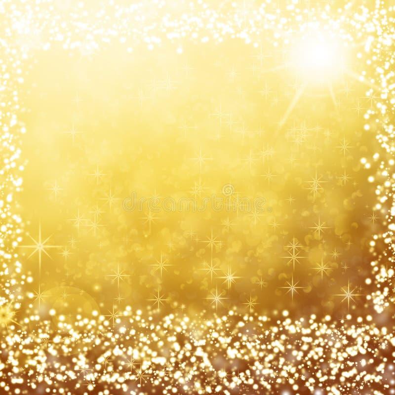 Luces blancas y estrellas del fondo de la Navidad del oro ilustración del vector