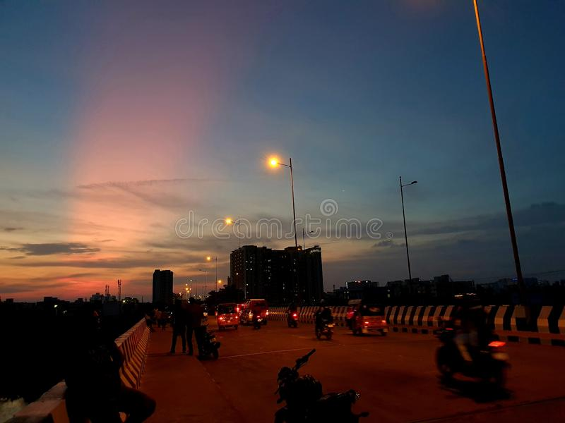 Luces boreales en Chennai, India imagen de archivo