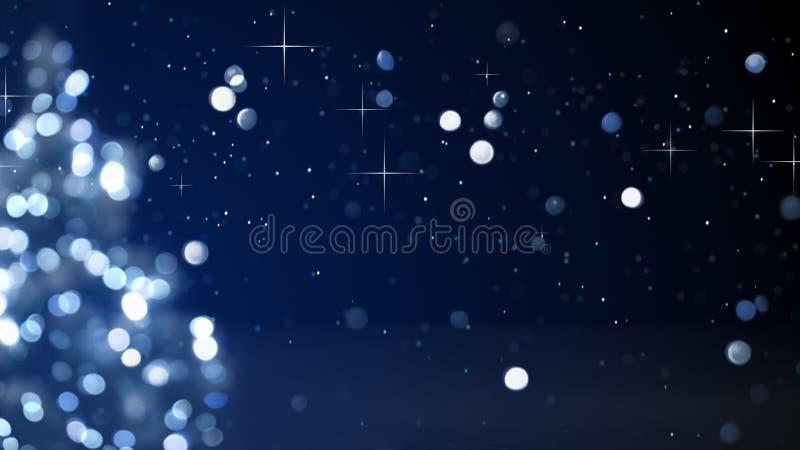 Luces borrosas azul del árbol de navidad libre illustration