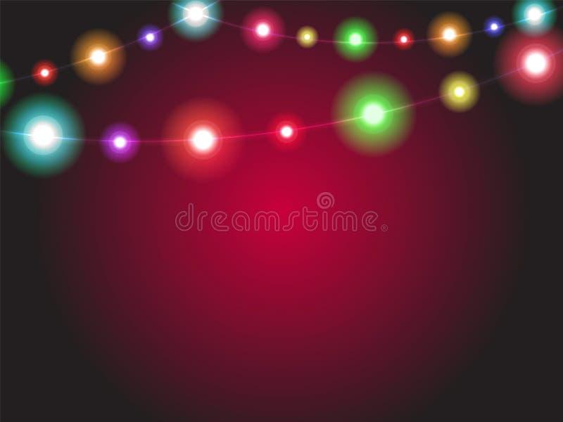 Luces brillantes de la guirnalda que brillan intensamente con diversos colores Radi luminoso stock de ilustración