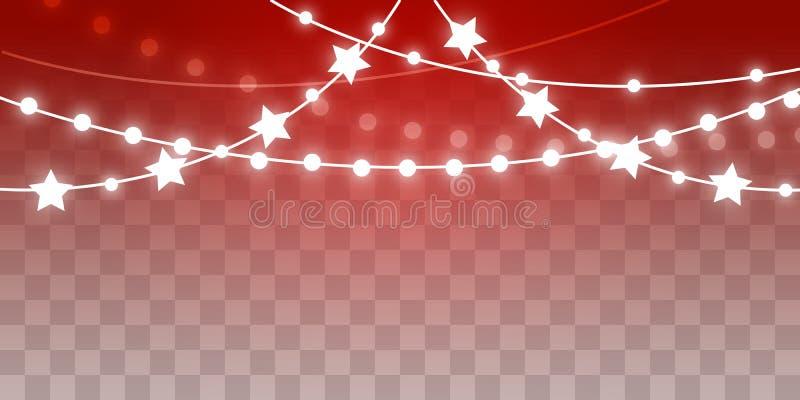 Luces brillantes de la Navidad en fondo transparente stock de ilustración