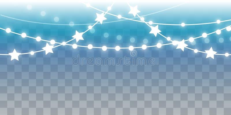 Luces brillantes de la Navidad en fondo transparente ilustración del vector