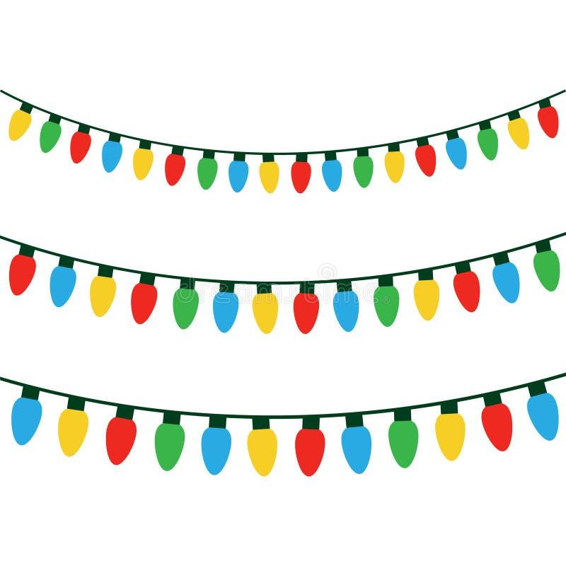 Luces coloridas de la Navidad en secuencia fotografía de archivo libre de regalías