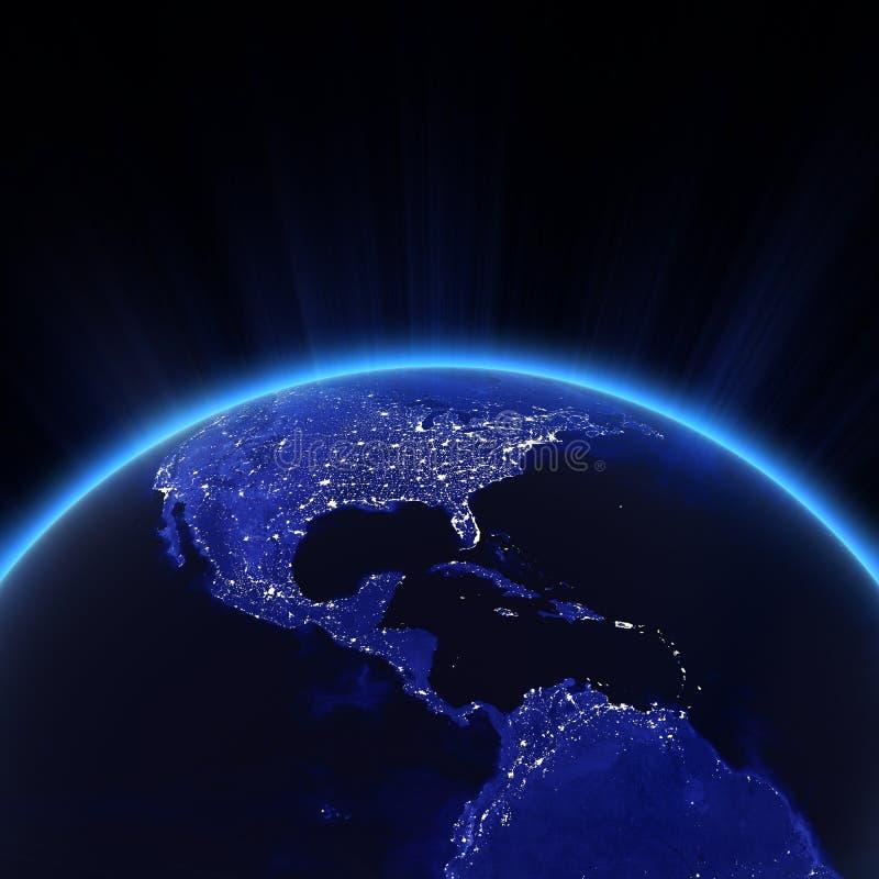 Luces de America Central y de la ciudad de los E.E.U.U. en la noche libre illustration