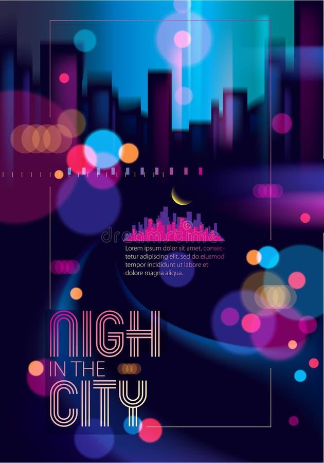 Luces de calle borrosas, fondo abstracto urbano Arte hermoso del vector del efecto Vida nocturna grande de la ciudad Empa?e el fo ilustración del vector