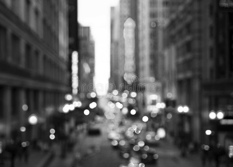 Luces de calle de Chicago en blanco y negro imagen de archivo libre de regalías