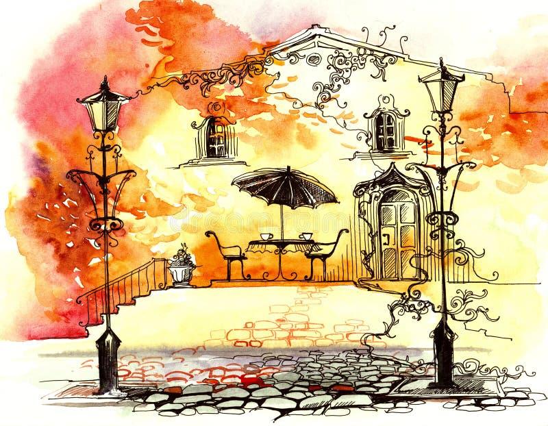 Luces de calle del otoño stock de ilustración