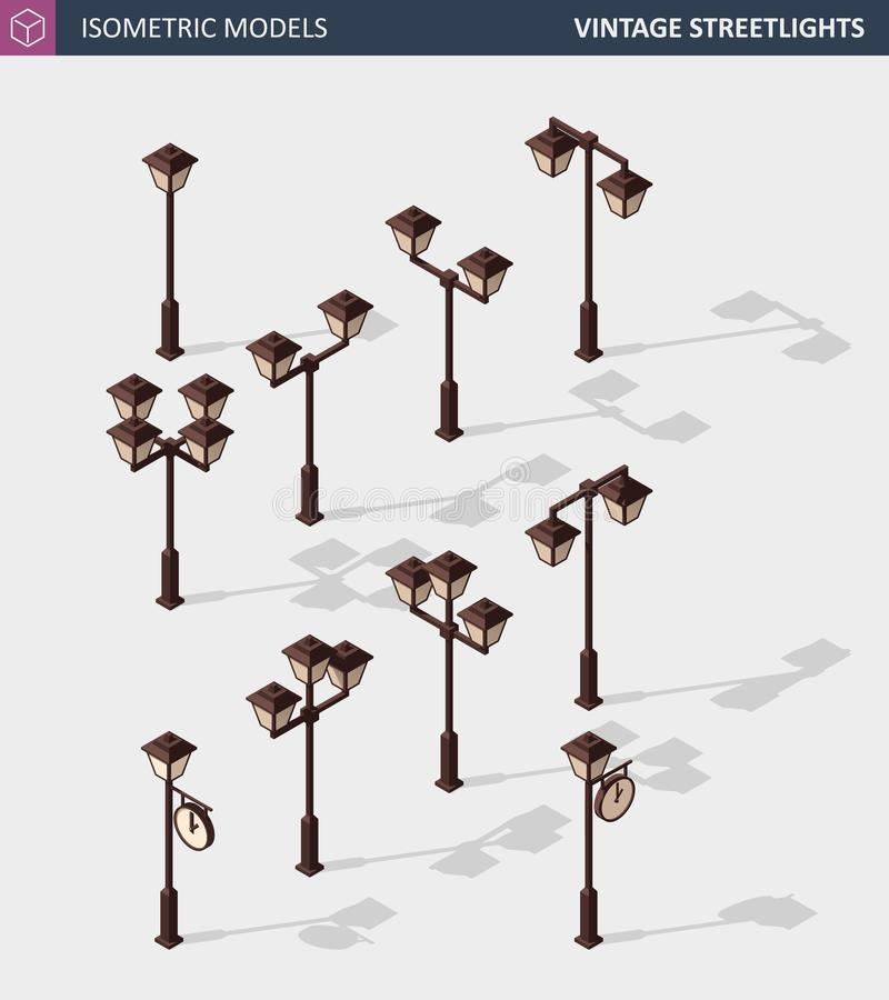Luces de calle del vintage en blanco Ejemplo isométrico del vector stock de ilustración