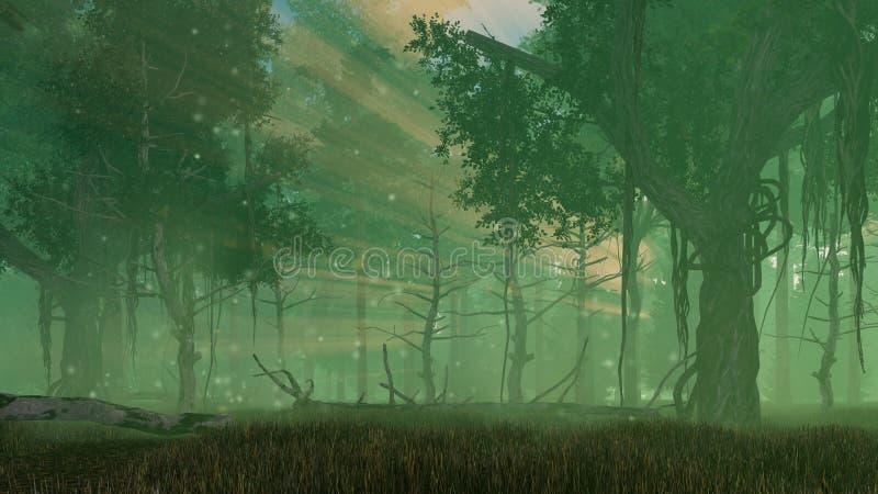 Luces de hadas de la luciérnaga en bosque brumoso de la noche ilustración del vector