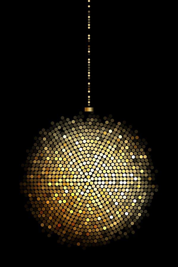 Luces de la bola de discoteca del oro ilustración del vector