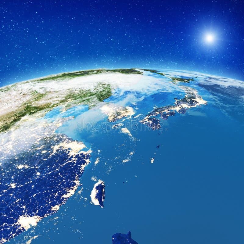 Luces de la ciudad de China y de Japón stock de ilustración