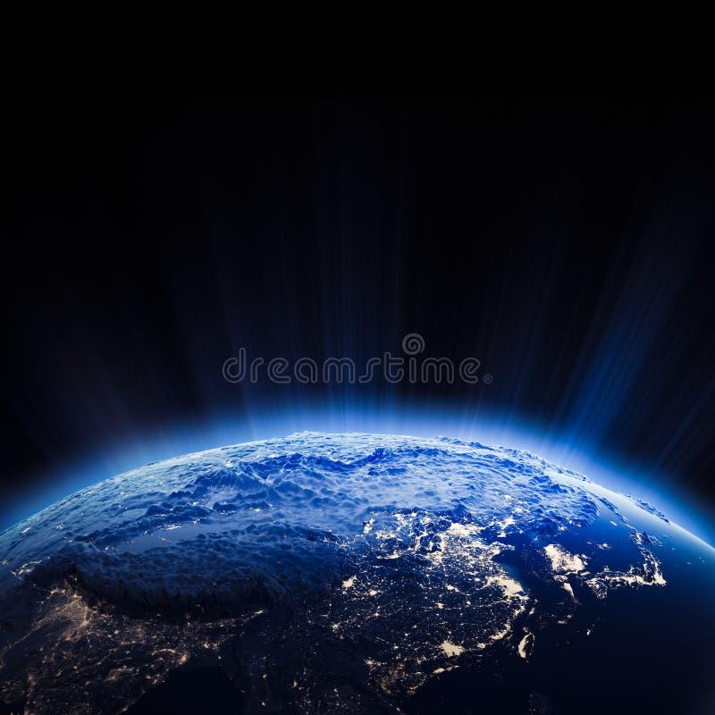 Download Luces De La Ciudad De Asia Central En La Noche Stock de ilustración - Ilustración de azul, estratosfera: 42439717