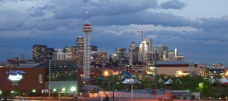 Luces de la ciudad de Denver fotos de archivo libres de regalías