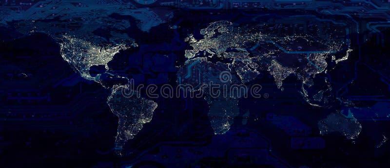 Luces de la ciudad del mapa del mundo y placa madre oscura imágenes de archivo libres de regalías