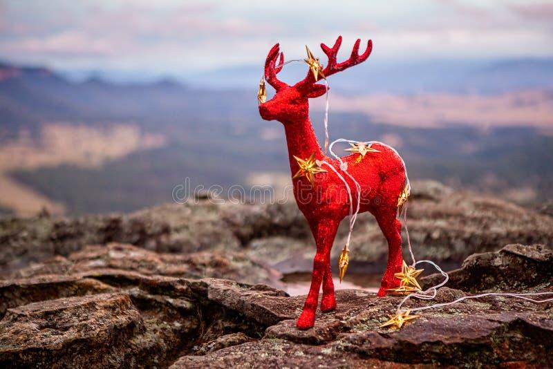 Luces de la estrella de la decoración y del oro de la Navidad en escena azul de las montañas fotos de archivo