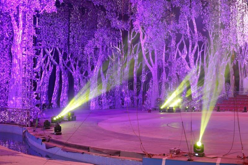 Luces de la etapa con el fondo del árbol fotos de archivo