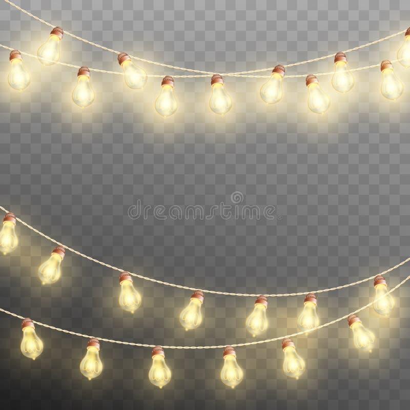 Luces de la guirnalda de la Navidad aisladas en fondo transparente Vector del EPS 10 libre illustration