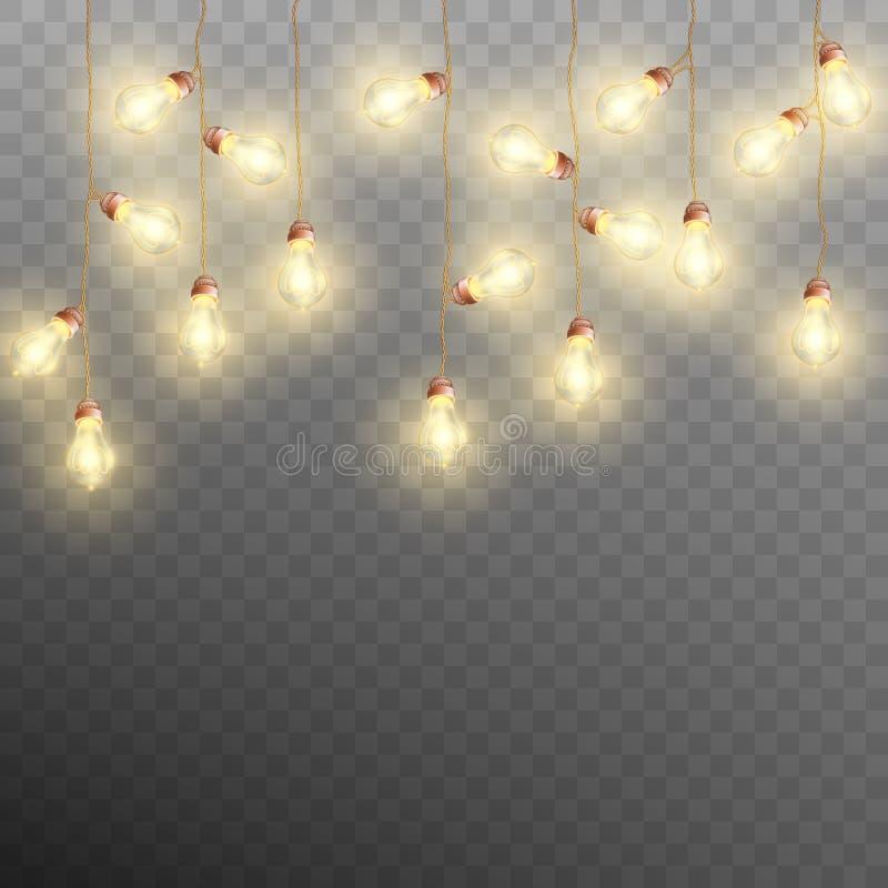 Luces de la guirnalda de la Navidad aisladas en fondo transparente Vector del EPS 10 ilustración del vector