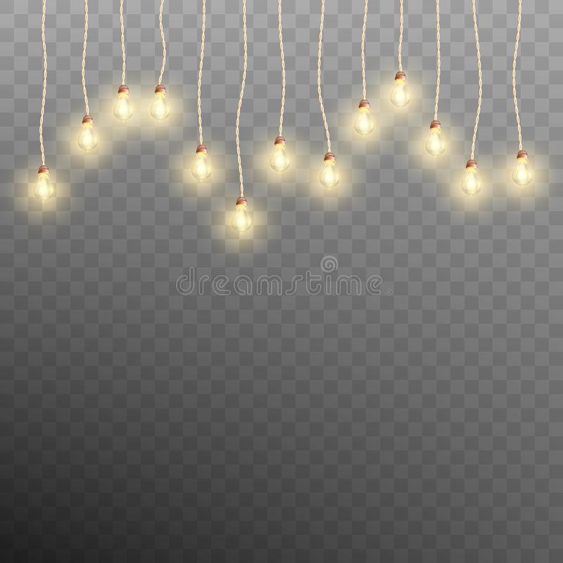 Luces de la guirnalda de la Navidad en fondo transparente Vector del EPS 10 stock de ilustración