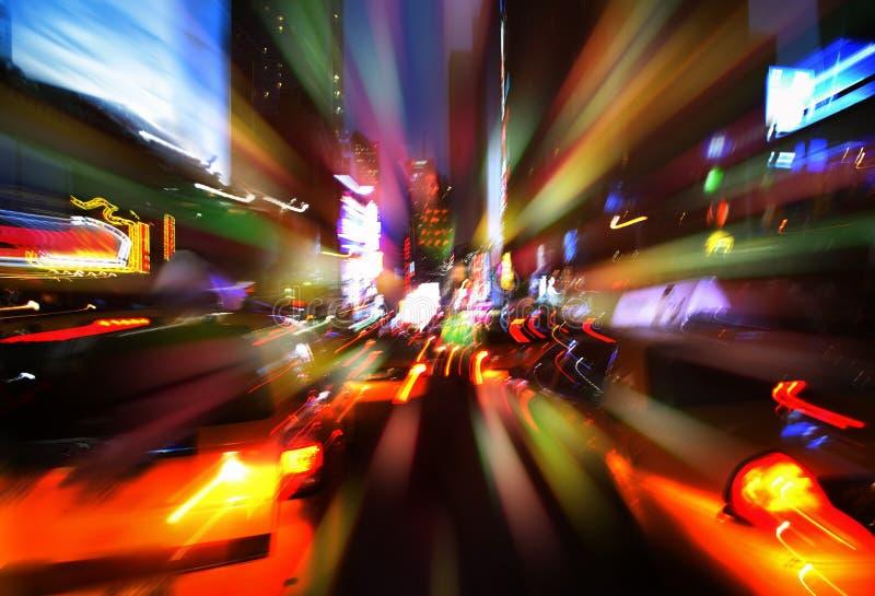 Luces de la iluminación y de la noche de New York City fotos de archivo libres de regalías