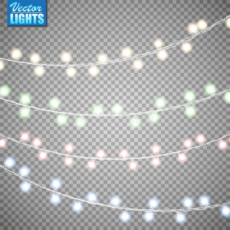 Luces de la Navidad aisladas en fondo transparente Sistema de la guirnalda que brilla intensamente de oro de Navidad Ilustración  foto de archivo libre de regalías