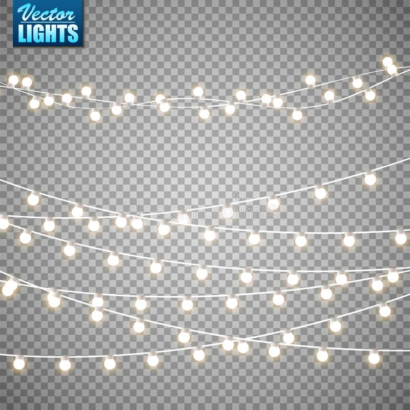 Luces de la Navidad aisladas en fondo transparente Sistema de la guirnalda que brilla intensamente de oro de Navidad Ilustración  fotos de archivo libres de regalías