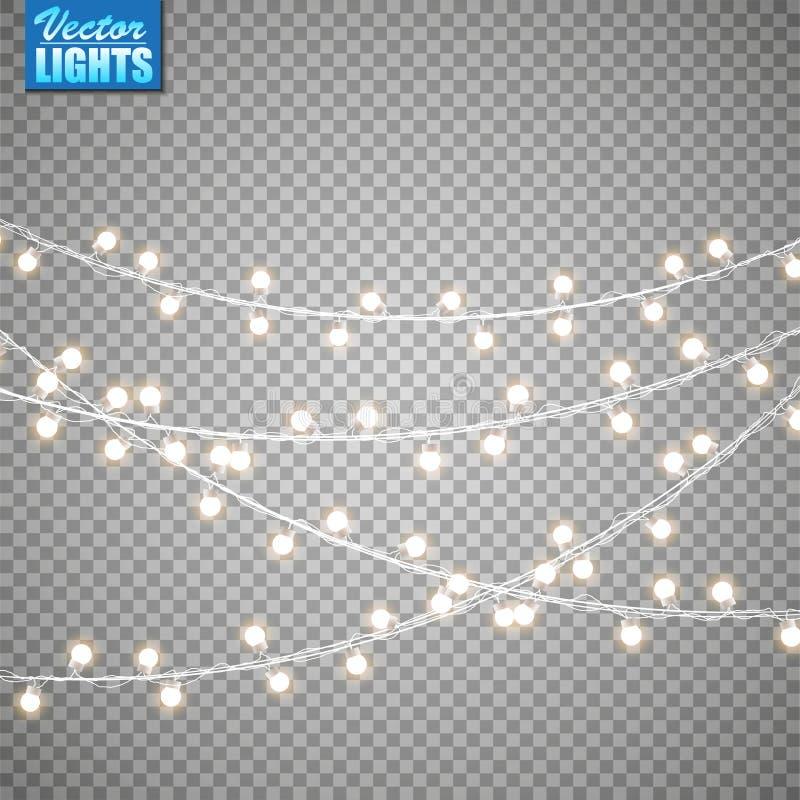 Luces de la Navidad aisladas en fondo transparente Sistema de la guirnalda que brilla intensamente de oro de Navidad Ilustración  fotos de archivo
