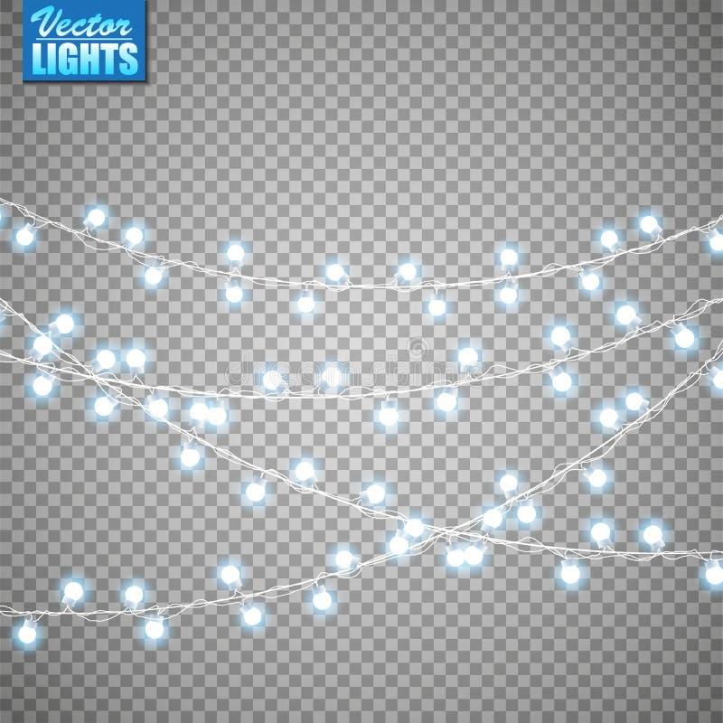 Luces de la Navidad aisladas en fondo transparente Sistema de la guirnalda que brilla intensamente de oro de Navidad Ilustración  imagen de archivo libre de regalías
