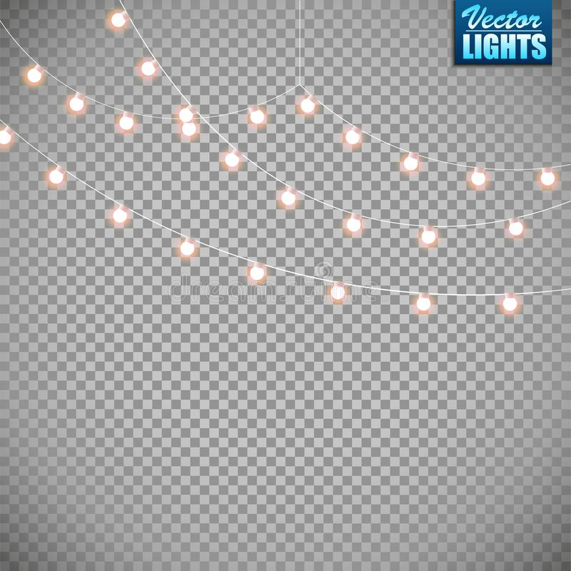 Luces de la Navidad aisladas en fondo transparente Sistema de la guirnalda que brilla intensamente de oro de Navidad Ilustración  fotografía de archivo
