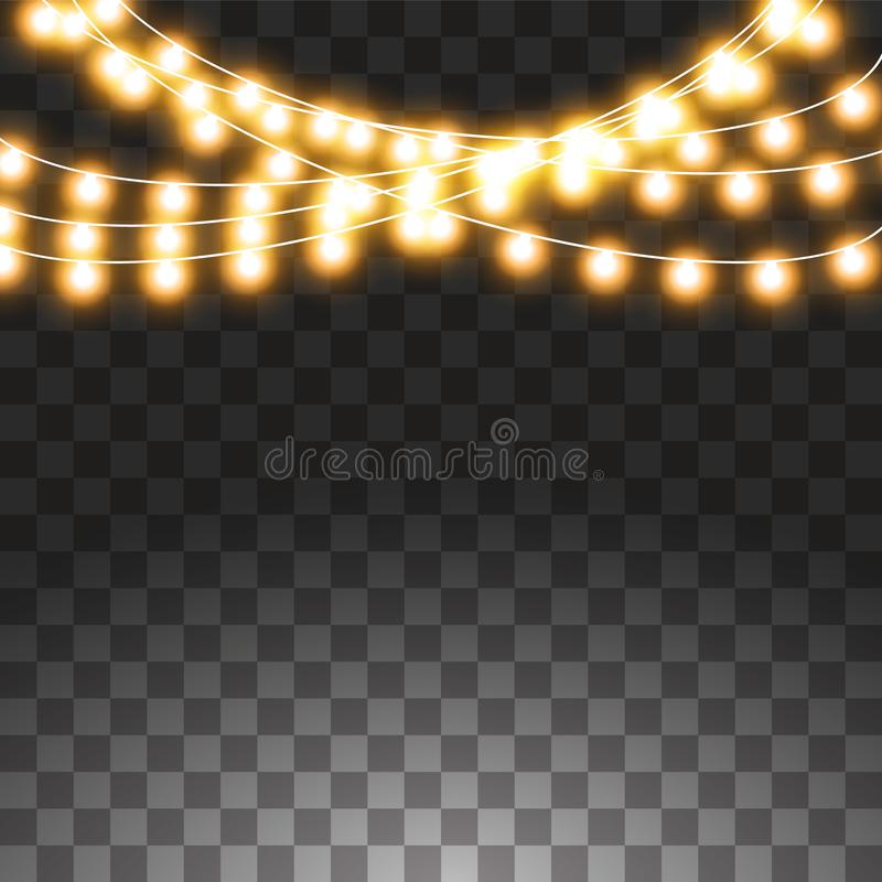Luces de la Navidad aisladas en fondo transparente Sistema de la guirnalda que brilla intensamente de oro de Navidad Ilustraci?n  stock de ilustración