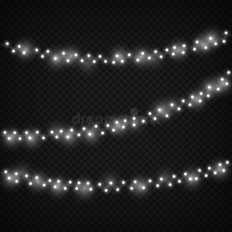 Luces de la Navidad blanca Decoración ligera festiva, guirnalda realista decorativa de las vacaciones de invierno Negro aislado s stock de ilustración