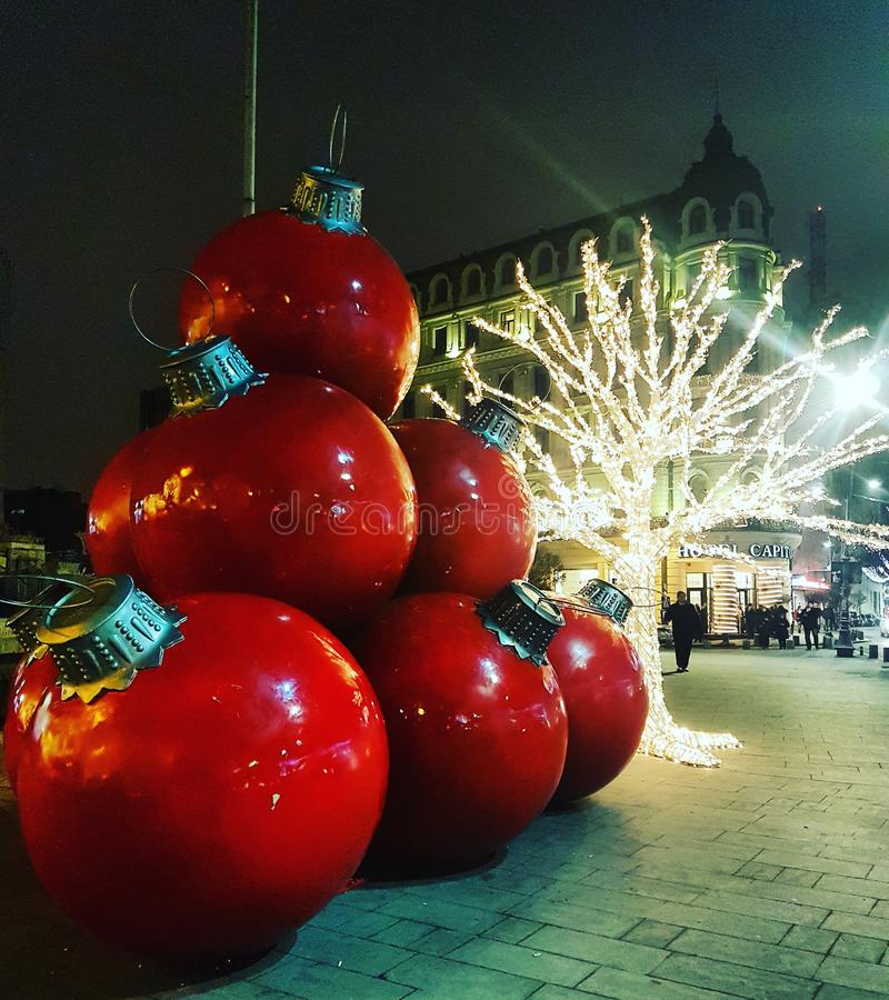 Luces de la Navidad de Bucarest imagenes de archivo
