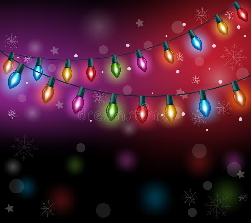 Luces de la Navidad coloridas realistas 3D ilustración del vector