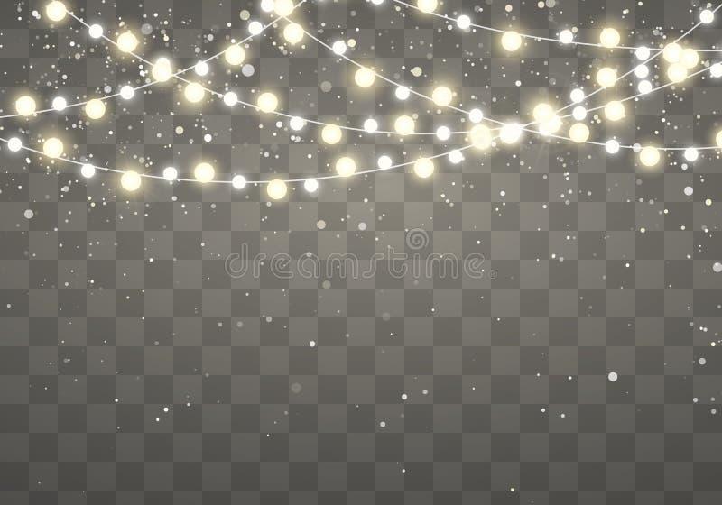 Luces de la Navidad con los copos de nieve que caen que brillan aislados en fondo transparente Guirnalda que brilla intensamente  libre illustration