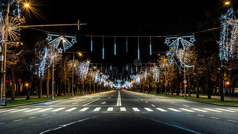 Luces de la Navidad de Bucarest fotografía de archivo