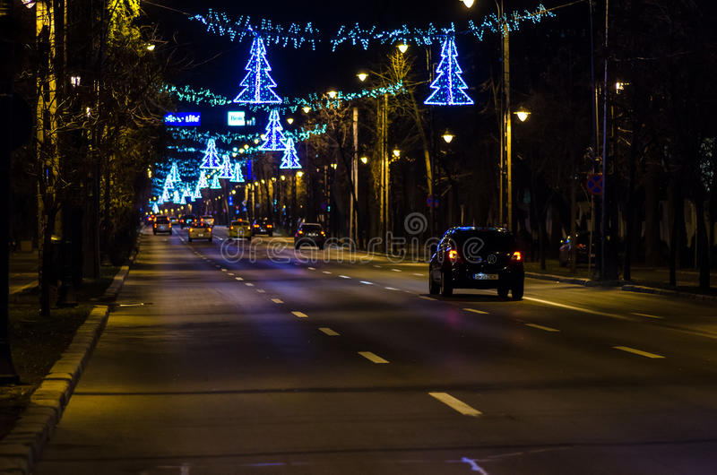 Luces de la Navidad de Bucarest en 2013 imagenes de archivo