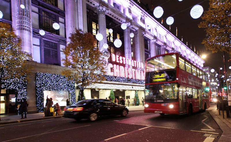 Luces de la Navidad de Londres imagen de archivo
