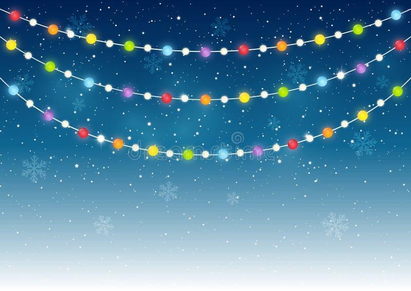 Luces de la Navidad del color stock de ilustración